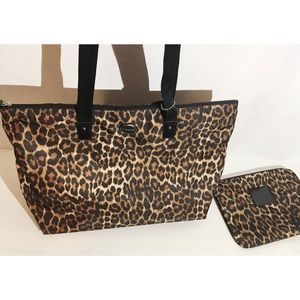 Coach NWT Leopard tote and zip pouch